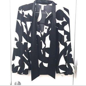 Diane Von Furstenberg Silk Print Tie Front Blouse
